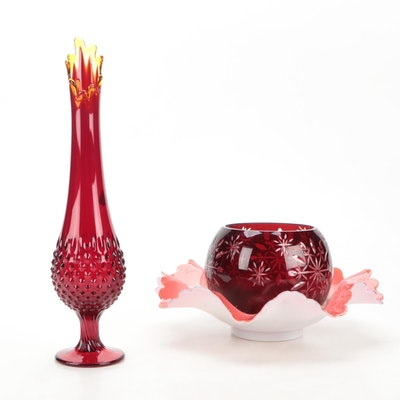Fenton Ruby Red Swung Glass Vase with Other Fluted Bowl and Cut to Clear Bowl