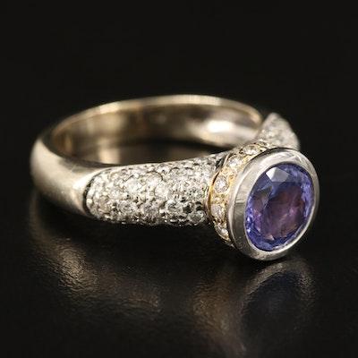 14K Tanzanite Ring with Pavé 1.04 CTW Diamond Shoulders