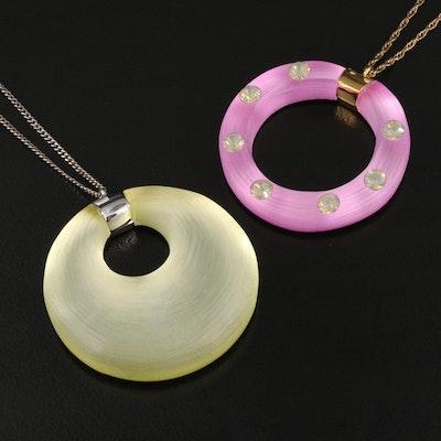 Alexis Bittar Geometic Lucite Pendant Necklaces