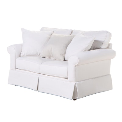 """Havertys Furniture """"Lacey"""" Ivory-Upholstered Roll-Arm Loveseat"""