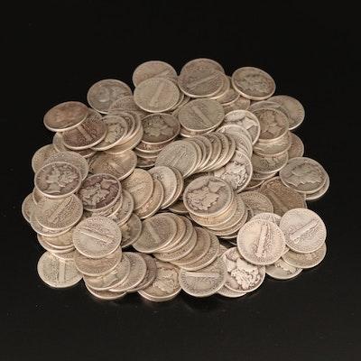 140 Mercury Silver Dimes, 1910s–1940s