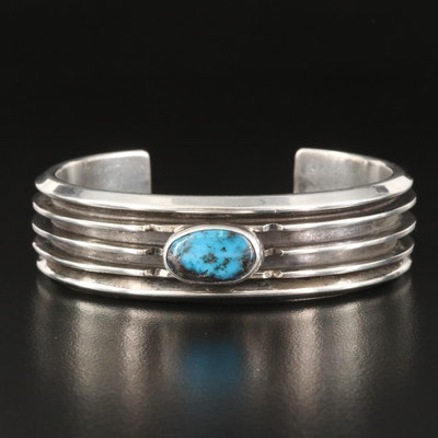 Southwestern Style Signed Sterling and Turquoise Cuff