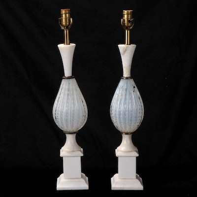 Italian Controlled Bubble Art Glass and Marble Table Lamps, Mid/Late 20th C.