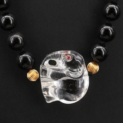 14K Glass Elephant, Black Onyx and Ruby Endless Beaded Necklace