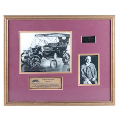 Henry Ford, Ford Motor Company Founder, Artifact Display with Framed COA
