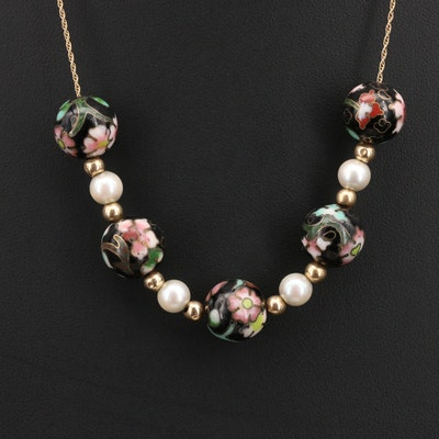 14K Cloisonné and Pearl Beaded Necklace