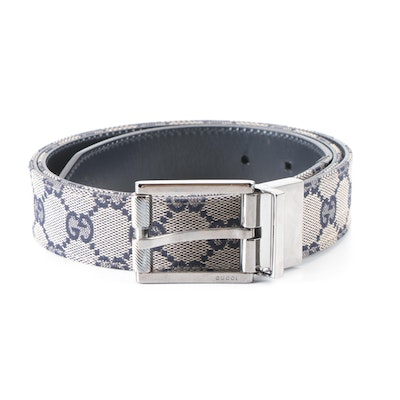 Gucci Reversible Navy GG Canvas and Smooth Leather Belt
