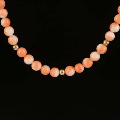 14K Coral Bead Necklace