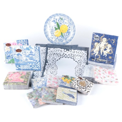 Caspari Party Paper Plates and Napkins with Other Paper Napkins and Placemats