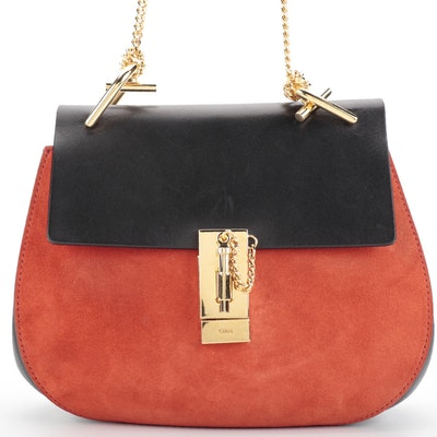 Chloé Drew Small Crossbody Bag in Bicolor Orange Suede and Black Leather