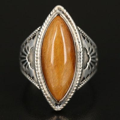 Sterling Tiger's Eye Navette Ring