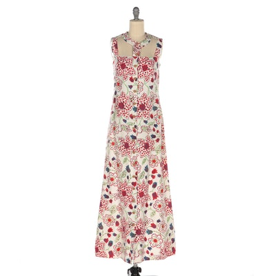 Poppy Graphic Tulip, Floral, and Dot Print Button-Front Sleeveless Maxi Dress