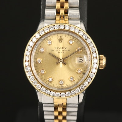 Rolex Date Diamond Bezel and Dial 18K and Stainless Steel Wristwatch