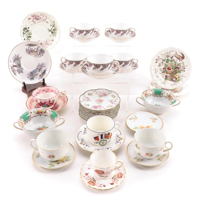 Haviland and Other Bone China and Porcelain Tea Cups, Saucers and Soup Bowls
