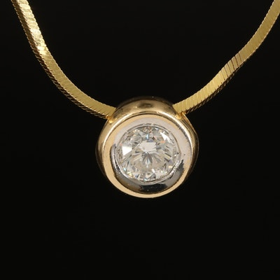 14K 0.75 CT Diamond Solitaire Pendant Necklace