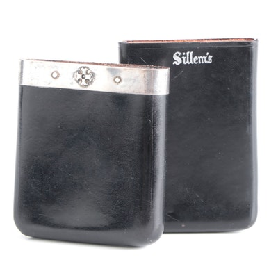 Sillem's Tobacco Leather and Sterling Case with Other Sillem's Leather Case