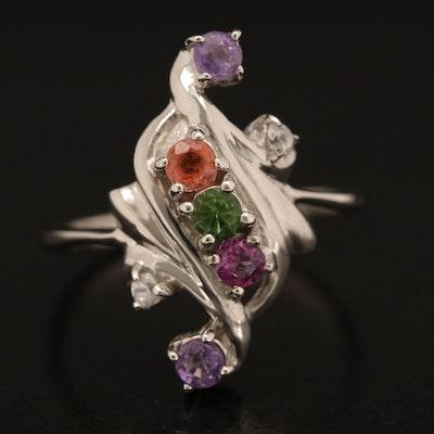 Sterling Sapphire, Garnet and Zircon Ring