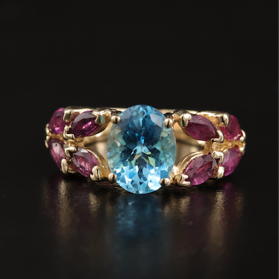 14K Ruby and Swiss Blue Topaz Openwork Ring with Knife Edge Shank