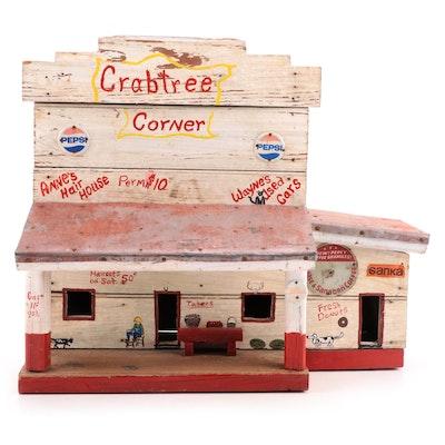 "Hand-Painted Folk Art ""Crabtree Corner"" Toy Wooden General Store"