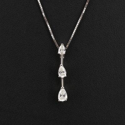 Italian 14K 0.50 CTW Diamond Past, Present and Future Necklace