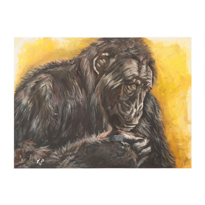 Elena Olkhovskaya Oil Painting of an Ape, 2021