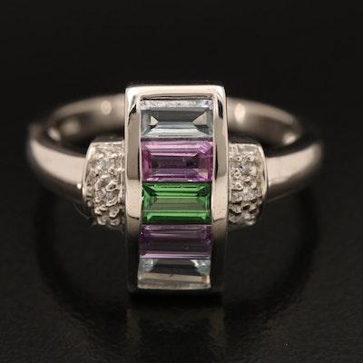 Sterling Sapphire, Tsavorite and Zircon Ring