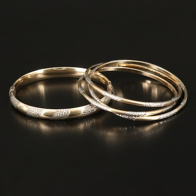 Sterling Diamond Cut Hinged and Rolling Bangles