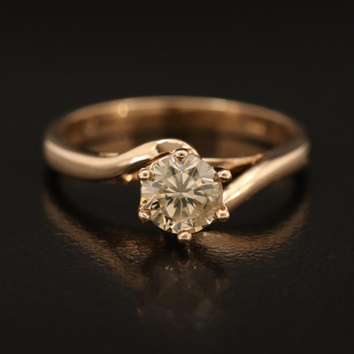 10K 0.66 CT Diamond Bypass Solitaire Ring
