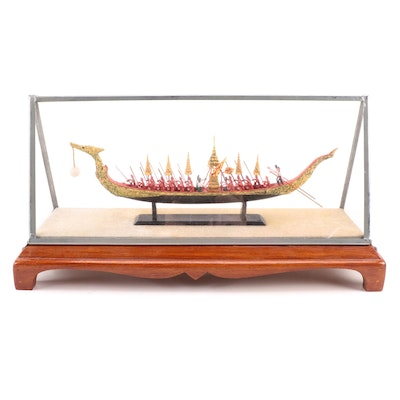 """Hand-Painted Thia Royal Barge """"Suphannahong"""" Figurine in Display Case"""