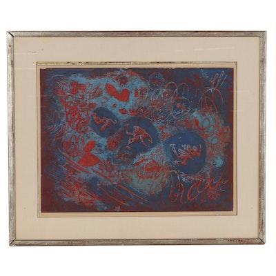 """André Masson Color Aquatint """"Poursuite,"""" 1955"""