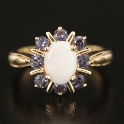 10K Opal and Iolite Halo Ring