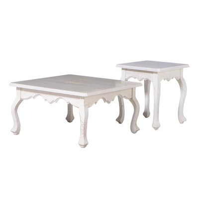 French Provincial Style Crackle-Painted Coffee Table and Side Table