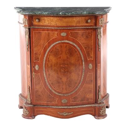 Napoleon III Style Kingwood, Burlwood, Gilt Metal, and Green Marble Side Cabinet