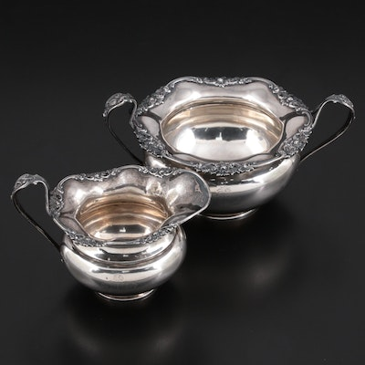 James Dixon & Sons Sterling Silver Creamer and Bowl with Crest, 1907