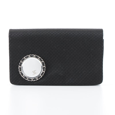 Chanel Vanity Flap Clutch on Chain in Embellished Quilted Satin