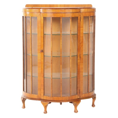Queen Anne Style Walnut Bowfront Display Cabinet, Early 20th Century