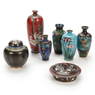 Chinese Cloisonné Floral Vases and Vessels