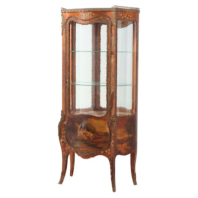 """Louis XV Style Gilt Metal-Mounted and Paint-Decorated """"Vernis Martin"""" Vitrine"""