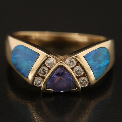 14K Tanzanite and Diamond Ring with Opal Inlaid Shoulders