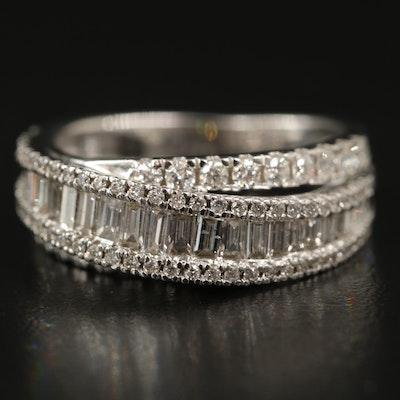 14K 1.20 CTW Diamond Crossover Ring