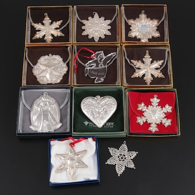 Gorham, Towle and Other Sterling Silver and Crystal Ornaments