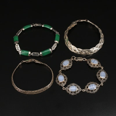 Sterling Bracelets Including Jadeite, Lace Agate and Marcasite