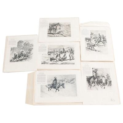 Photogravures After Reinhold H. Palenske of Western Genre Scene