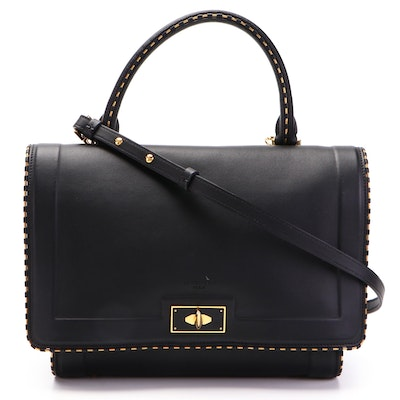Givenchy Shark Small Convertible Satchel in Black Leather