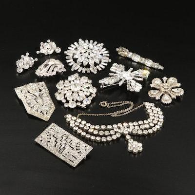 Vintage Rhinestone Jewelry Featuring Eisenberg Brooch and Weiss Earrings