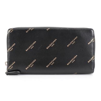 Balenciaga Bazar Logo Print Zip-Around Long Wallet in Black Leather