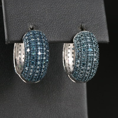 Sterling Silver 2.01 CTW Pavé Fancy Blue Diamond Huggie Earrings