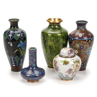 Chinese Cloisonné Floral Vases and Jars