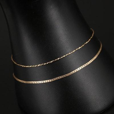 14K Tinsel and Curb Link Bracelets