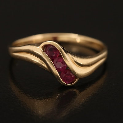 14K Channel Set Ruby Wave Ring